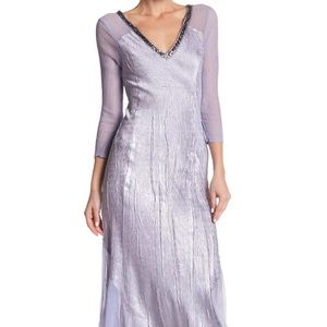 New KOMAROV Sequin V-Neck Dress Lavender Small